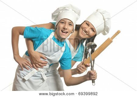 Female chef with assistant