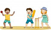 image of playmate  - Illustration of a Group of Kids Playing Cricket at the Beach - JPG