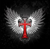 picture of art gothic  - artistically painted red cross with gray wings on a black background - JPG