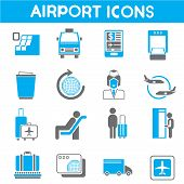 stock photo of air hostess  - set of 16 airport and transportation industry icons with blue theme - JPG