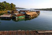 pic of houseboats  - Harbor and houseboat in Sangklaburi Kanchanaburi country Thailand