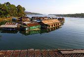 stock photo of houseboats  - Harbor and houseboat in Sangklaburi Kanchanaburi country Thailand  - JPG