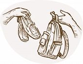 image of barter  - hand drawn sketched illustration of Hands Barter trading or swapping shoes and backpack or bag - JPG