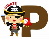 picture of letter p  - the letter p for the word pirate - JPG