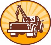 stock photo of wreckers  - illustration or icon of a Rear view of a tow or wrecker truck - JPG