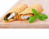 foto of sandwich wrap  - Wrap sandwich with feta cheese tomatoes and basil - JPG