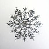 stock photo of santa-claus  - Silver sparkly snowflake christmas ornament on white background - JPG