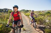 picture of bike path  - Active couple on a bike ride in the countryside on a sunny day - JPG
