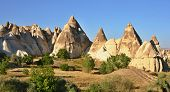pic of goreme  - Cappadocia Stone columns in Gorcelid Valley near the town Goreme Turkey - JPG