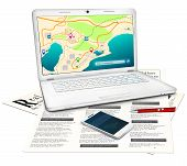 picture of ballpoint  - Silver modern laptop with online city map on display newspaper with classified real estate ads red ballpoint pen white touchscreen mobile phone - JPG