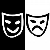 stock photo of pantomime  - Hand drawn icon with happy and sad masks - JPG