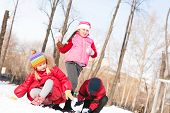 image of snowball-fight  - Children in Winter Park playing snowballs - JPG