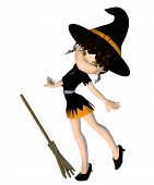 image of crazy hat  - Digitally rendered image of a cute cartoon witch with broom - JPG