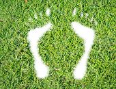 image of footprint  - Green grass ecological footprint concept on over white background - JPG