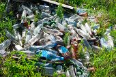 stock photo of landfill  - Bottles in a landfill - JPG