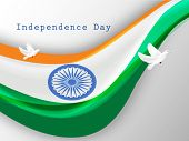 stock photo of indian independence day  - Indian National flag waving and flying pigeons - JPG