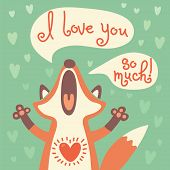 stock photo of i love you mom  - Card to the birthday or other holiday with cute fox and a declaration of love - JPG