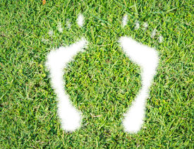 stock photo of footprint  - Green grass ecological footprint concept on over white background - JPG