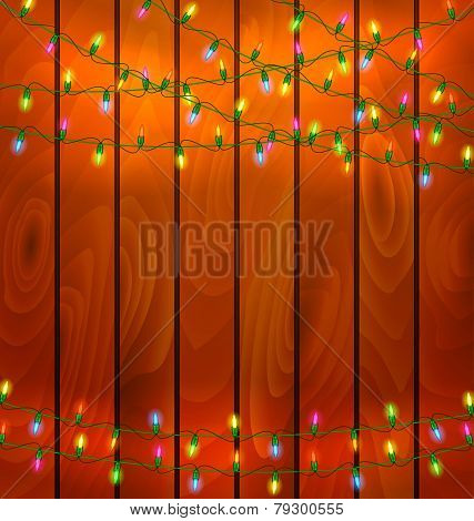 Colorful Garlands On Wood Background