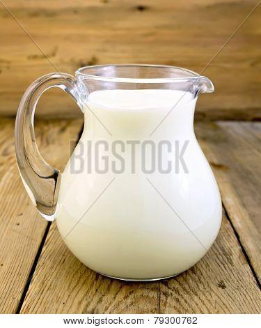 Milk in glass jug on board