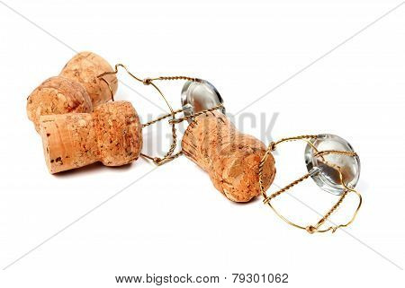 Three Champagne Wine Corks And Muselets