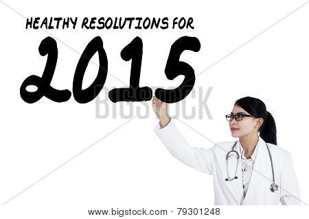 Female Doctor Writes Health Resolution
