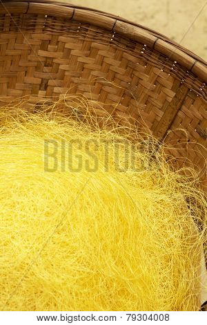 Silk Yarn From Yellow Cocoons Of The Silk Worm