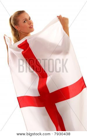 2010 - England Fan Draped In Flag Of St. George