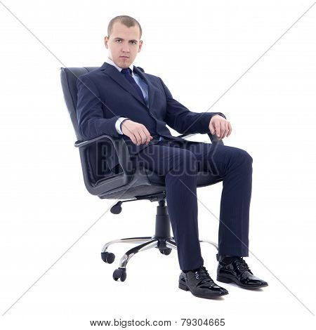 Young Business Man Sitting On Office Chair Isolated On White