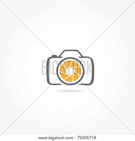 Photography camere icon and orange aperture