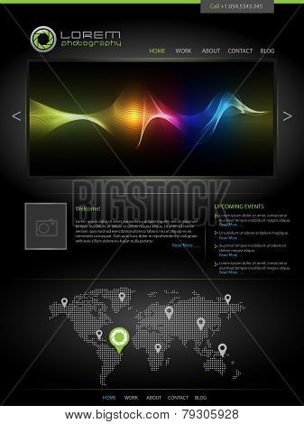 Black web design template vector, great as personal website for artist, modern company website