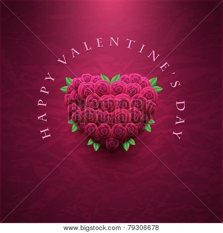 Vector retro Valentine's Day greeting card design template with roses and wrinkled paper background. Elements are layered separately in vector file.