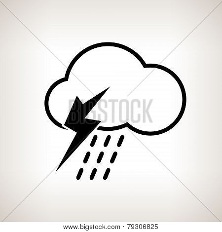 Silhouette cloud with thunderstorm , vector illustration