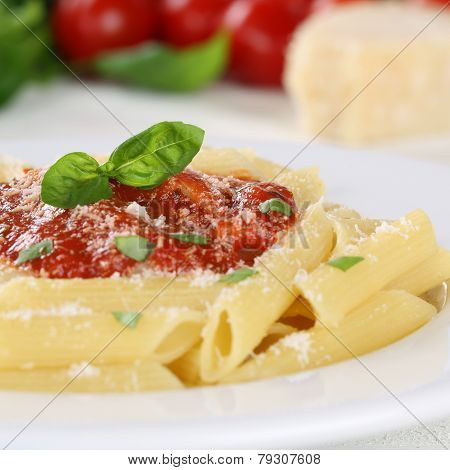 Pasta With Napoli Tomato Sauce Noodles Meal With Basil On A Plate