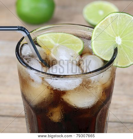 Cola Drink In Glass With Ice Cubes
