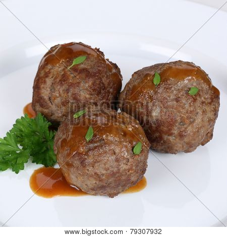 Meatballs Or Köttbullar Meal On Plate