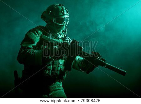 soldier in the smoke