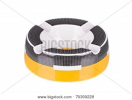 Colorful round ashtray on the white background.