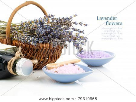 Dry Lavender Flower In A Basket With Bath Salt, Isolated On White Background