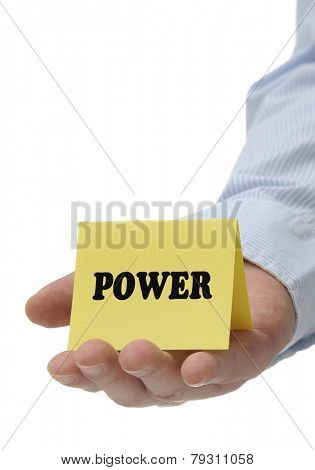 Business man holding yellow power sign on hand