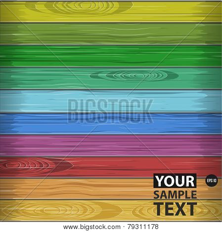 Rainbow colors wooden plane texture, nature vector illustration