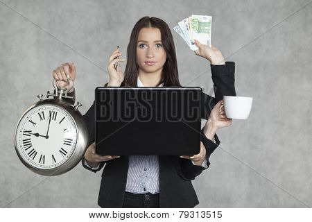 Businesswoman Is Very Multitasking