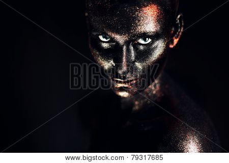 Woman In Black Bodyart In Dark