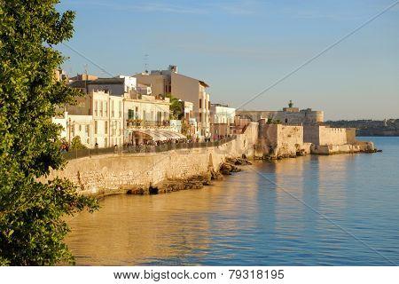 Promenade In Ortigia Old Town of Siracusa, Sicily