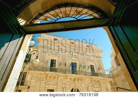 baroque City Hall in Ortigia islet, Siracusa of Sicily