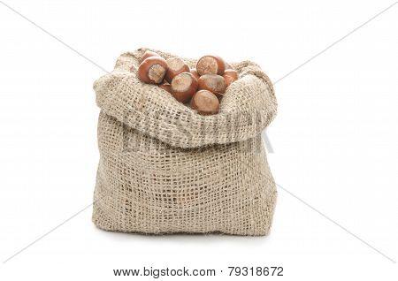 Hazelnuts in a sack