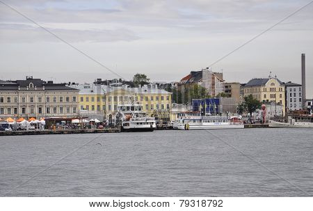 HELSINKI-AUGUST 23:Quay from Helsinki in Finland on august 23