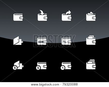 Wallet icons on black background