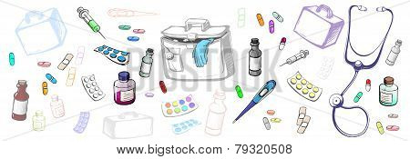 Horizontal Set Of Objects Symbolizing Medicine Made In The Thumbnail Style
