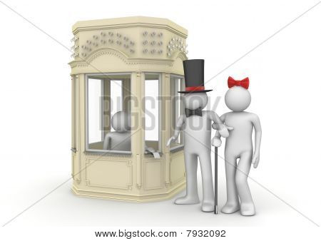 Couple Taking Tickets In Booking Office - Entertainment Collection